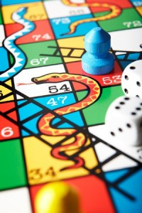 Close Up Of Snakes And Ladders Board