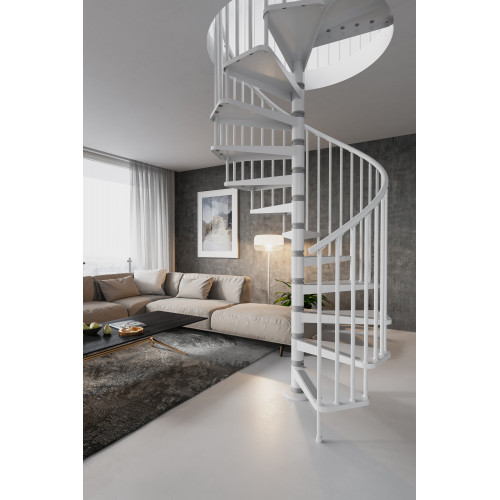 The Gamia 120cm (47in) Spiral Staircase (White/Grey)