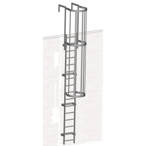 Zarges Fixed Ladder 3.64m with safety cage