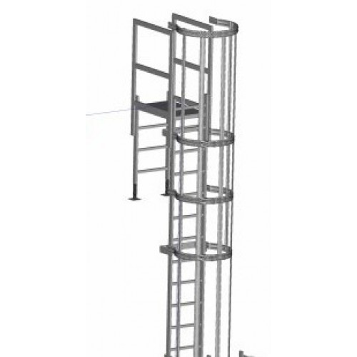 Zarges Fixed Ladder 7.41m with safety cage & parapet bridge