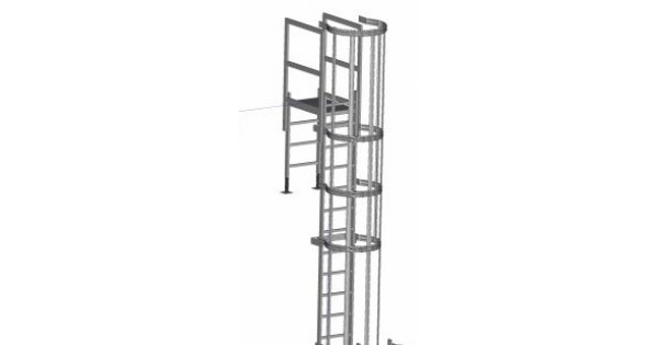 Zarges Fixed Ladder 3 64m With Safety Cage Amp Parapet Bridge